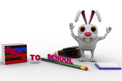 3d rabbit with bag, pencil, books and back to school text concept Royalty Free Stock Photo