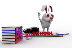 3d rabbit with bag, pencil, books and back to school text concept Stock Image