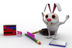 3d rabbit with bag, pencil, books and back to school text concept Royalty Free Stock Photos