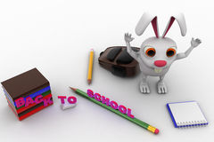 3d rabbit with bag, pencil, books and back to school text concept Stock Images