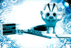 3d rabbit with bag, pencil, books and back to school text illustration Stock Photos