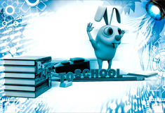 3d rabbit with bag, pencil, books and back to school text illustration Stock Image