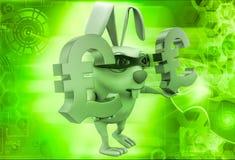 3d rabbit balancing euro symbol in hands illustration Royalty Free Stock Photo
