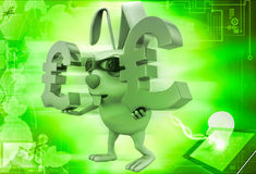 3d rabbit balancing euro symbol in hands illustration Royalty Free Stock Images