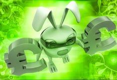 3d rabbit balancing euro symbol in hands illustration Stock Images