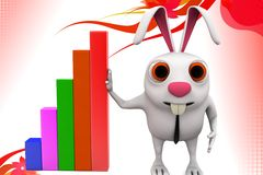 3d rabbit presenting  bar graph illustration Stock Photography