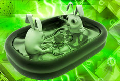 3d rabbit bathing in small home pool illustration Stock Image
