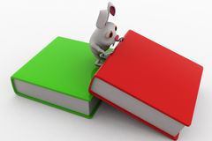 3d rabbit with big book concept Stock Images