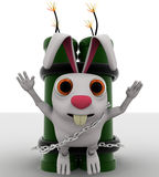 3d rabbit with big green dynamite concept Royalty Free Stock Photos
