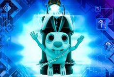 3d rabbit with big green dynamite illustration Stock Image