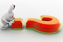 3d rabbit with big orange question mark concept Royalty Free Stock Photo