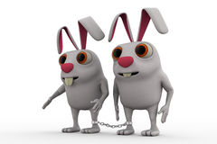 3d rabbit bind with chain concept Royalty Free Stock Photo