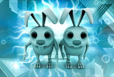 3d rabbit bind with chain concept Stock Photo