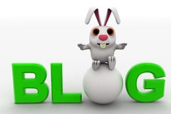3d rabbit with blog text concept Royalty Free Stock Images