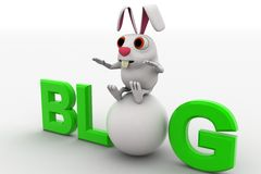 3d rabbit with blog text concept Stock Images