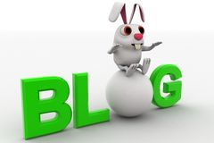 3d rabbit with blog text concept Royalty Free Stock Photo