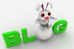 3d rabbit with blog text concept Royalty Free Stock Image