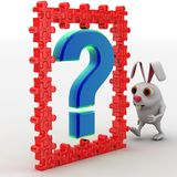 3d rabbit with blue question mark and red puzzle pieces concept Royalty Free Stock Image