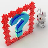 3d rabbit with blue question mark and red puzzle pieces concept Royalty Free Stock Photos