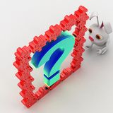 3d rabbit with blue question mark and red puzzle pieces concept Stock Images