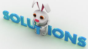 3d rabbit with blue solutions text concept Stock Images