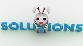 3d rabbit with blue solutions text concept Stock Image