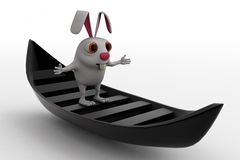 3d rabbit on boat concept Royalty Free Stock Photography