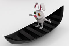 3d rabbit on boat concept Royalty Free Stock Images
