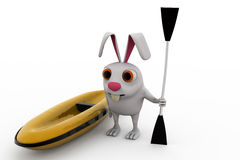 3d rabbit with boat and paddle concept Stock Photo
