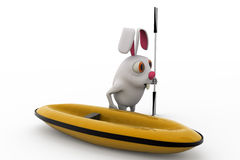 3d rabbit with boat and paddle concept Royalty Free Stock Photo