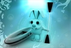 3d rabbit with boat and paddle illustration Royalty Free Stock Photos