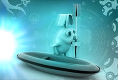 3d rabbit with boat and paddle illustration Royalty Free Stock Image