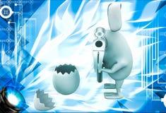 3d rabbit break egg with hammer illustration Stock Image