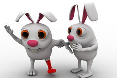 3d rabbit with broken leg and ask help to another rabbit concept Royalty Free Stock Image