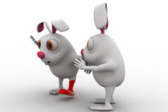 3d rabbit with broken leg and ask help to another rabbit concept Stock Photo