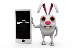 3d rabbit camera phone concept Stock Photos
