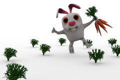 3d rabbit with carrots concept Stock Image