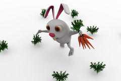 3d rabbit with carrots concept Stock Photography