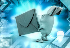 3d rabbit carry mail  illustration Royalty Free Stock Photography