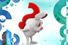 3d rabbit carry question mark illustration Stock Image