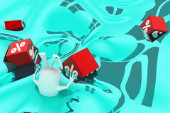 3d rabbit catch floating  percentage cubes in water concept Royalty Free Stock Photography