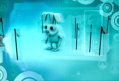 3d rabbit with so charactery flag around him illustration Stock Photography