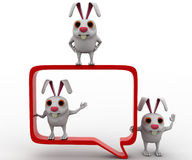3d rabbit with chat bubble concept Stock Photo