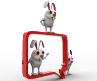 3d rabbit with chat bubble concept Stock Images