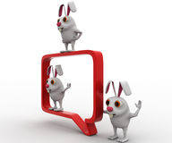 3d rabbit with chat bubble concept Royalty Free Stock Images