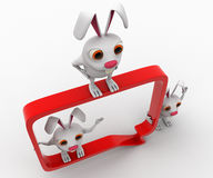 3d rabbit with chat bubble concept Stock Photography