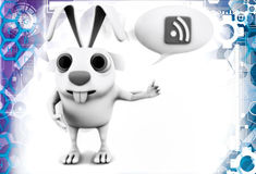 3d rabbit with chat and rss feed illustration Stock Photos