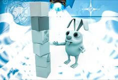 3d rabbit child make building of cubes illustration Royalty Free Stock Photos