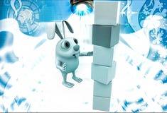 3d rabbit child make building of cubes illustration Royalty Free Stock Image