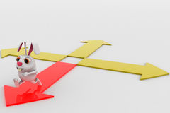 3d rabbit choose red path from four different paths concept Stock Photo